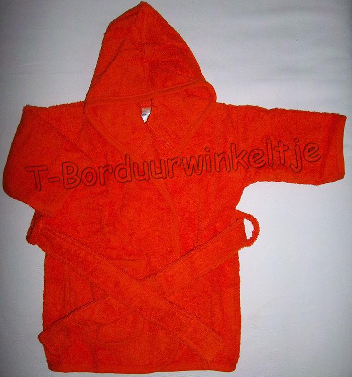 Badjas Oranje geborduurd met naam (Keuze uit 2 maten)