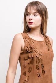 Suedine dress with petals