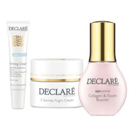 Declaré Cadeauset, Collagen & Elastin Booster (50 ml), 5 Secrets Night Cream (50 ml), (gratis) Firming Eye Cream (15 ml)