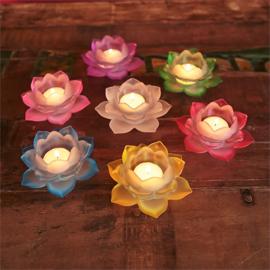 Sfeerlicht Lotusbloem glas Wit