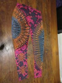 Legging Tie Dye Bigsize Magenta / oranje / lila