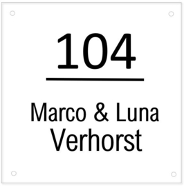 HUISNUMMERBORD | Plexiglas - simpel & strak