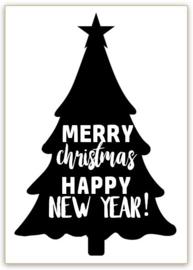 RAAMSTICKERS   Kerstboom Merry Christmas & Happy New Year