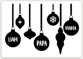 RAAMSTICKERS   Kerstbal met naam (per stuk!)