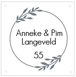 HUISNUMMERBORD | Plexiglas - strakke cirkel met blad