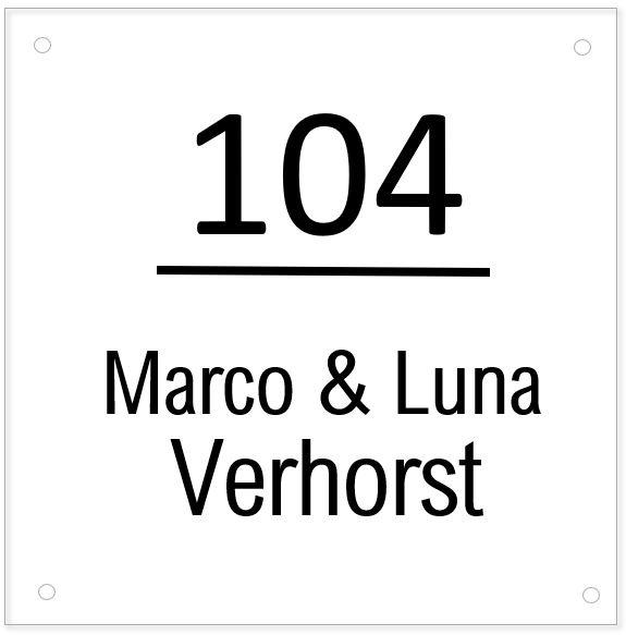 HUISNUMMERBORD   Plexiglas - simpel & strak