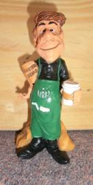 Beeld barista de koffiemaker
