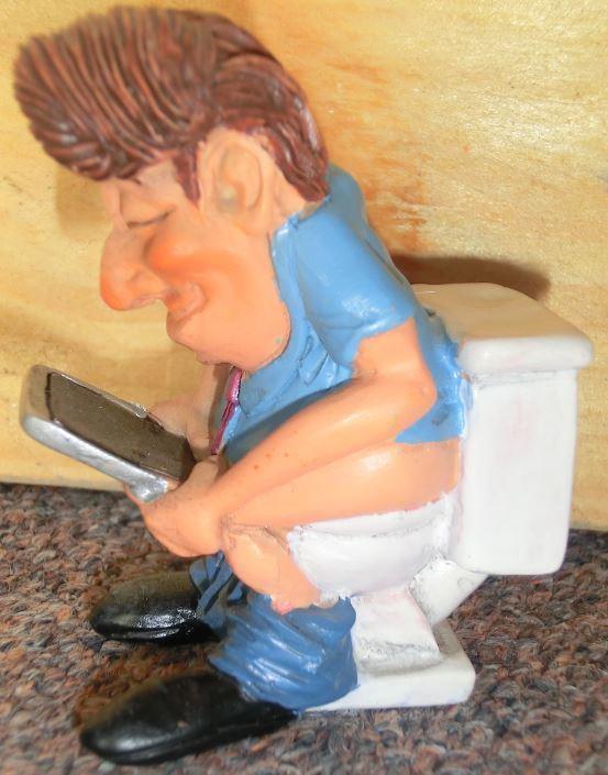 Beeldje moboel netwerken op het toilet