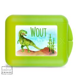 Koekendoosje of snackbox met naam | Dino