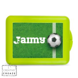 Lunchbox of brooddoos met naam | Voetbal met gras | €15,95