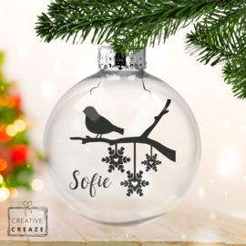 Kerstbal vogel (met naam)