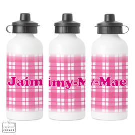 Drinkfles met naam   Roze ruitjes   400 ml of 600 ml