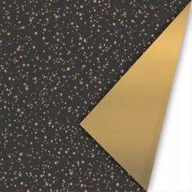 Inpakpapier Twinkling Stars Zwart - Goud