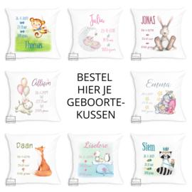 Bestel hier je geboortekussen - verschillende designs