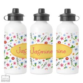 Drinkfles met naam | Bloemen | 400 ml of 600 ml
