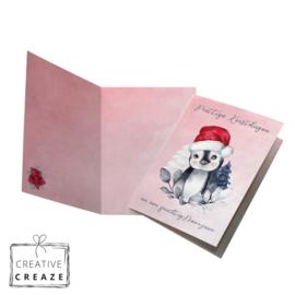 Kerst- en Nieuwjaarskaart | Schattige pinguin