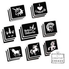 Assortiment glittertattoosjablonen Eenhoorns - Unicorns