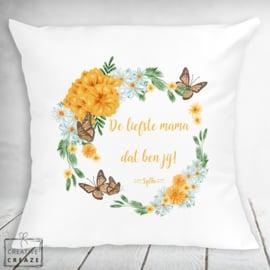 Kussen - De liefste mama - Gele bloemen