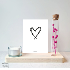 Memory Shelf met Droogbloemen een kaarsje en een kaartje | Hart