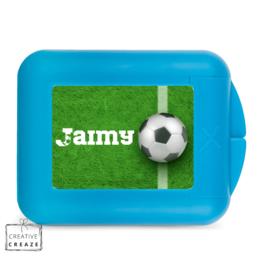 Koekendoosje of snackbox met naam | Voetbal gras