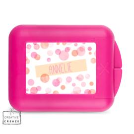 Koekendoosje of snackbox met naam | Pink Bubbles