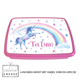 Lunchbox met naam | Rainbow Unicorn