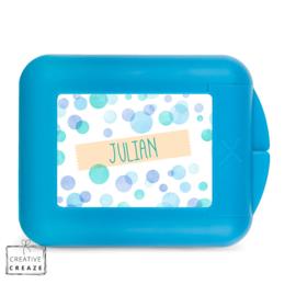 Koekendoosje of snackbox met naam | Blue Bubbles