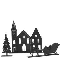 Kerstset: Houten kerkje, slee en boompje