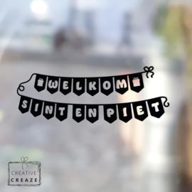 Raamsticker Welkom Sint & Piet - slinger klein- herbruikbaar