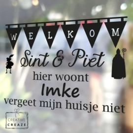 Raamsticker Welkom Sint en Piet - met namen of naam - herbruikbaar