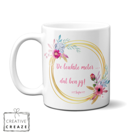 Mok De leukste meter (oma of mama)- bloemencirkel