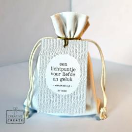 Wenskaars in zakje - Een lichtpuntje voor liefde en geluk