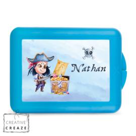 Lunchbox of brooddoos met naam | Piraat | €15,95