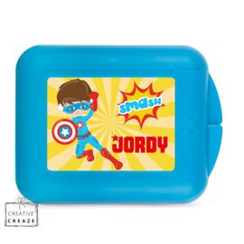 Koekendoosje of snackbox met naam | Superheld