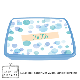 Lunchbox met naam | Blue Bubbles