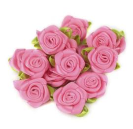 Satijnen roosjes groot 2cm