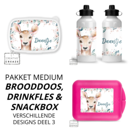 Pakket medium | brooddoos, drinkfles & snackbox | deel 3