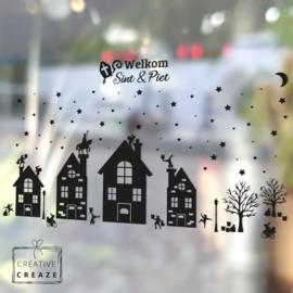 Raamsticker dorpje met optie uitbreidingspakketten voor Halloween, Sinterklaas, Kerstmis - herbruikbaar
