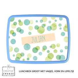 Lunchbox met naam   Green Bubbles