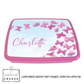 Lunchbox met naam | Roze vlinders