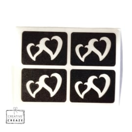 Sjabloon mini - Double Heart - 4 stuks