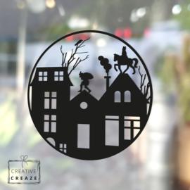 Raamsticker Daktafereel Sint & Piet - cirkel - herbruikbaar