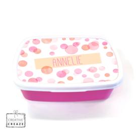 Brooddoos of broodtrommel met naam | Pink Bubbles