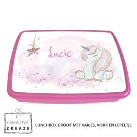Lunchbox met naam | Schattige eenhoorn