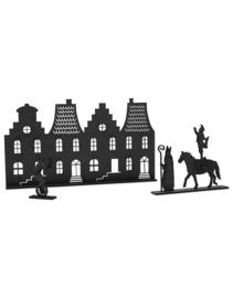 Houten grachtenpandjes met Sint, paard en pietjes