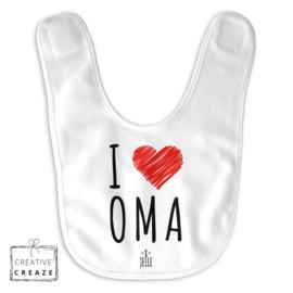 Slabbetje 'I love Oma' met naam