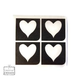 Sjabloon mini - Hart - 4 stuks