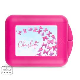 Koekendoosje of snackbox met naam | Roze vlinders