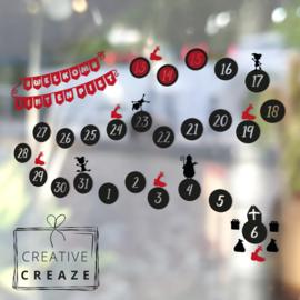Raamsticker Aftelkalender Sinterklaas - herbruikbaar