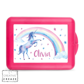 Lunchbox of brooddoos met naam | Rainbow Unicorn | €16,95